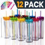 STRATA CUPS Colored Acrylic Tumblers with Lids and Straws (12)