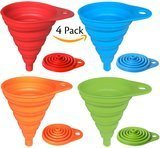 Hibery 4 Pack Silicone Collapsible Funnel