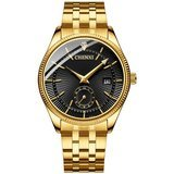 Fanmis Men's Luxury Analog Quartz Black Dial Gold Watch