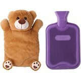 HomeTop Rubber Hot Water Bottle With Brown Bear Cover