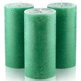 Melt Candle Company Dark Green Unscented Pillar Candles